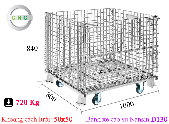 Xe lồng thép lắp bánh xe cao su D130 Nansin 1000x800x840 (50x50) CNCXL-00012