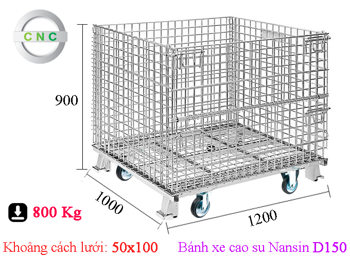 Xe lồng thép lắp bánh xe cao su D150 Nansin 1200x1000x900 (50x100) CNCXL-00016