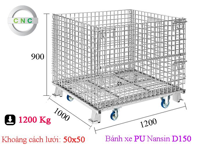 Xe lồng thép lắp bánh xe PU D150 Nansin 1200x1000x900 (50x50) CNCXL-00023