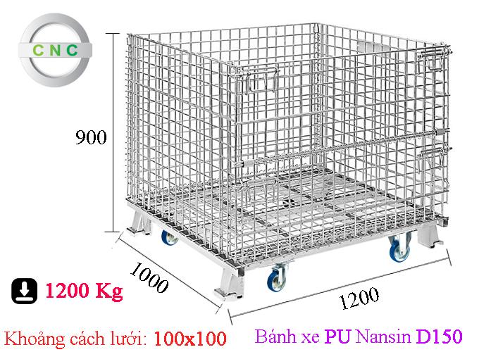 Xe lồng thép lắp bánh xe PU D150 Nansin 1200x1000x900 (100x100) CNCXL-00025