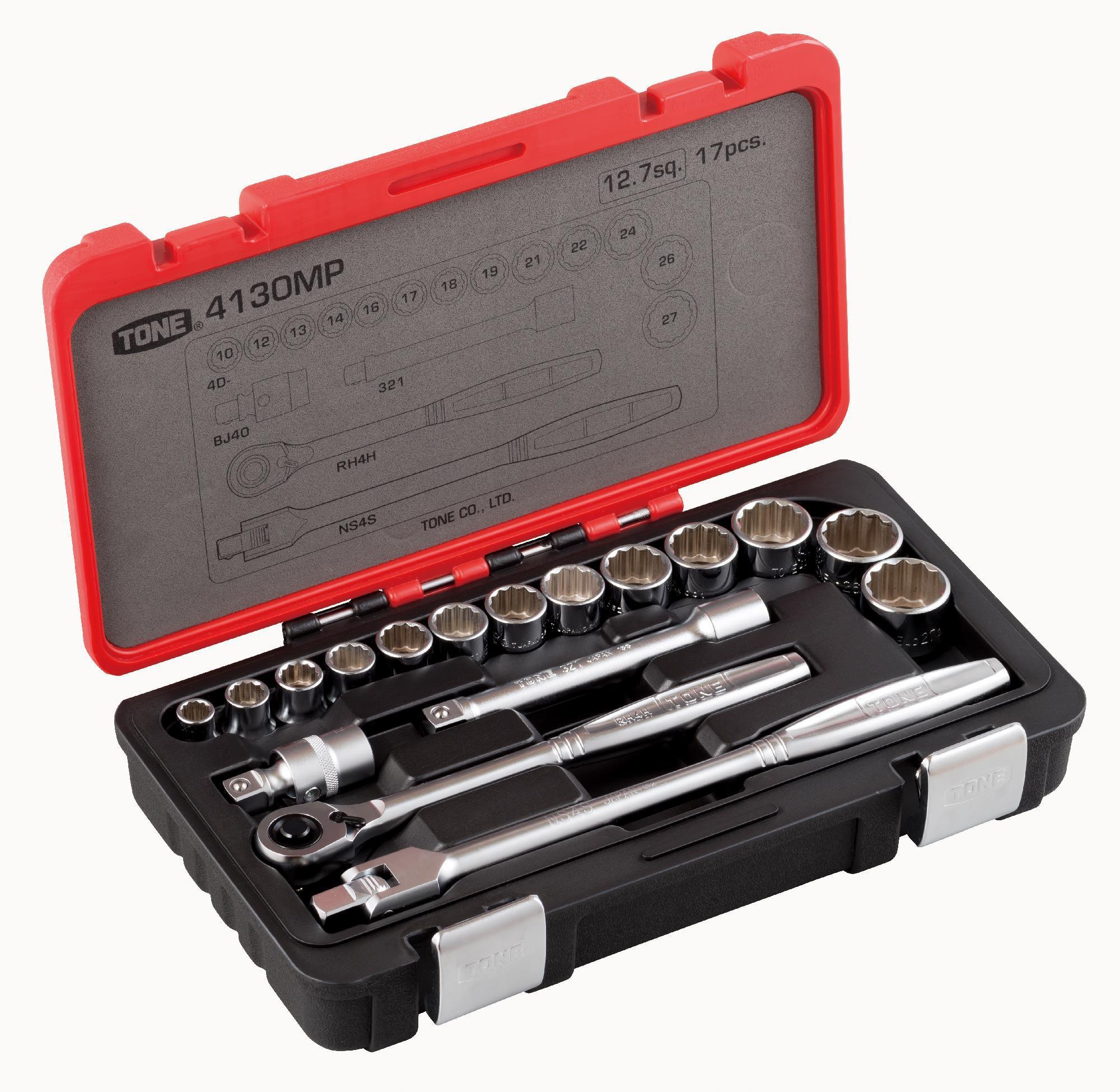 Hộp đầu khẩu và cần vặn TONE 17 chi tiết 1/2inch 4130MP