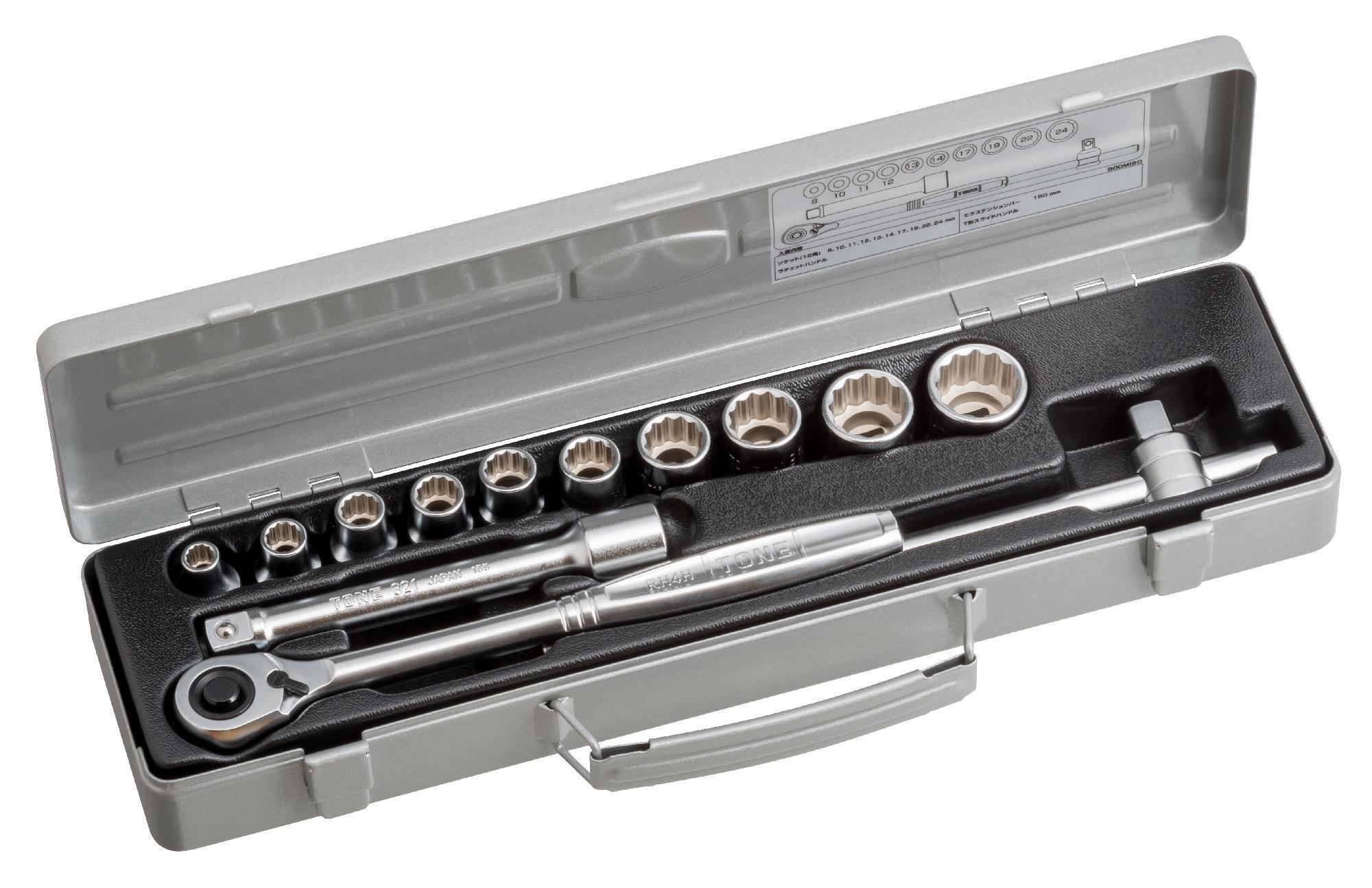 Hộp đầu khẩu và cần vặn TONE 13 chi tiết 1/2inch 800M ISO