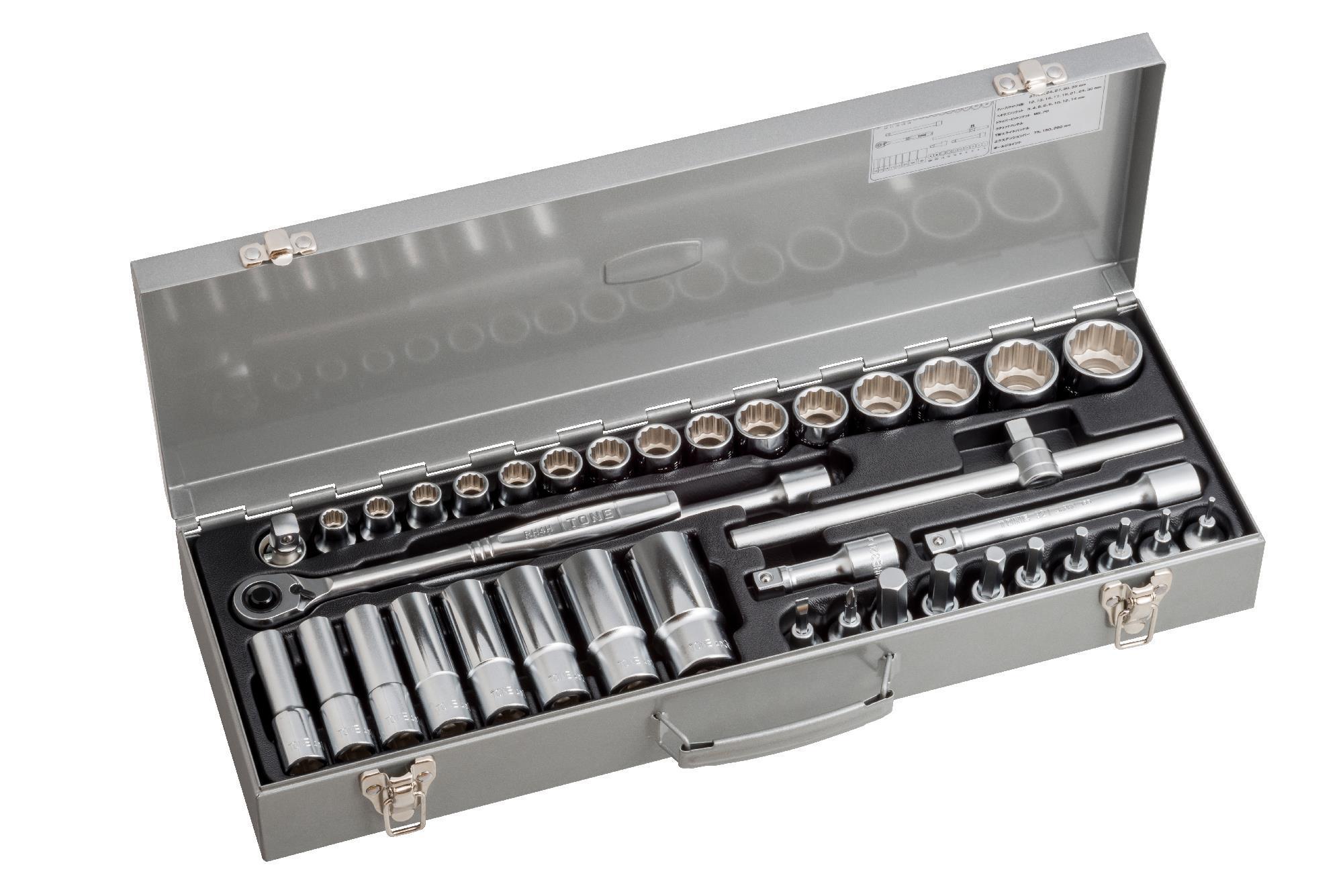 Hộp đầu khẩu và cần vặn TONE 39 chi tiết 1/2inch MX400
